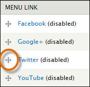 drag bar highlighted in menu options