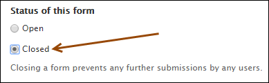 radio button to close a form
