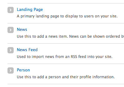 "Add content page showing the ""news feed"" link."