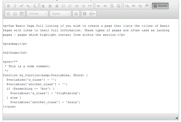 screenshot of editor mode showing how to use tags to display code