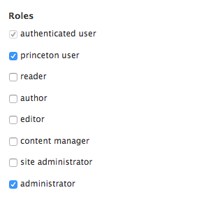 Selecting a role for a user